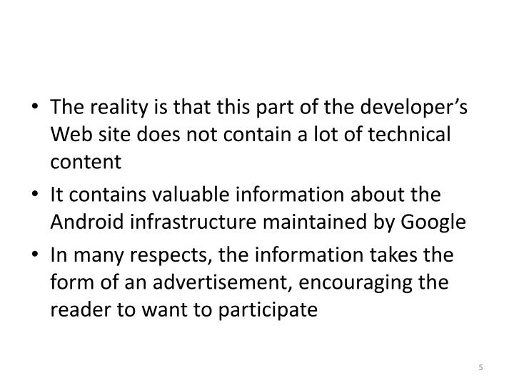The reality is that this part of the developer's Web site does not contain a lot of technical content