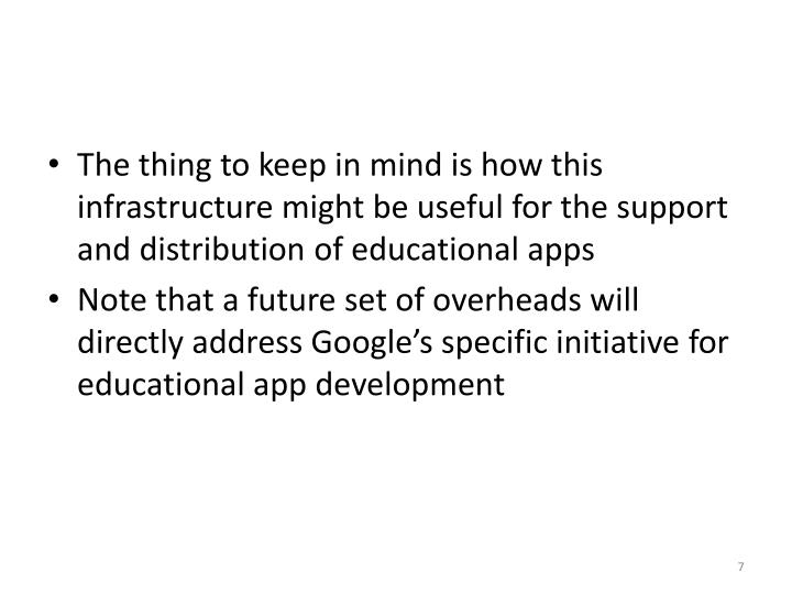 The thing to keep in mind is how this infrastructure might be useful for the support and distribution of educational apps