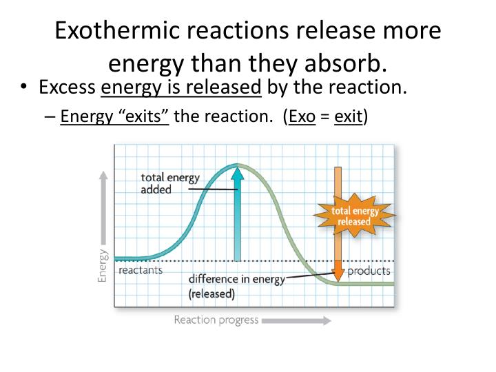 Exothermic reactions release more energy than they absorb.