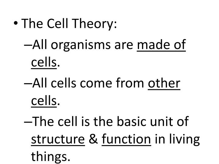 The Cell Theory: