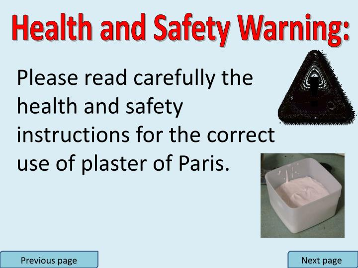 Health and Safety Warning: