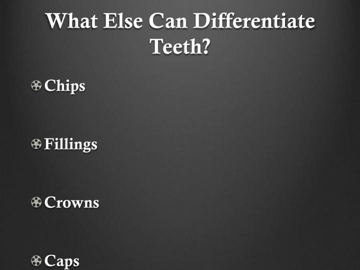 What Else Can Differentiate Teeth?