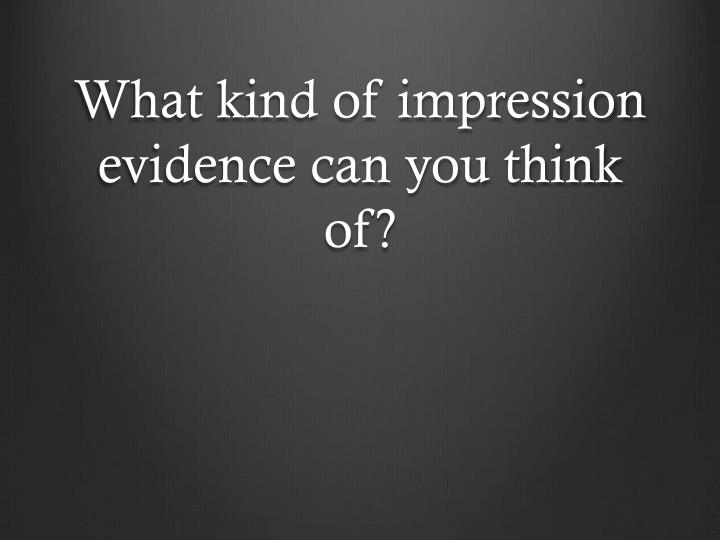 What kind of impression evidence can you think of?