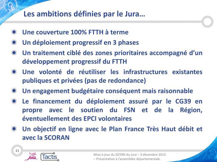 Les ambitions définies par le Jura…