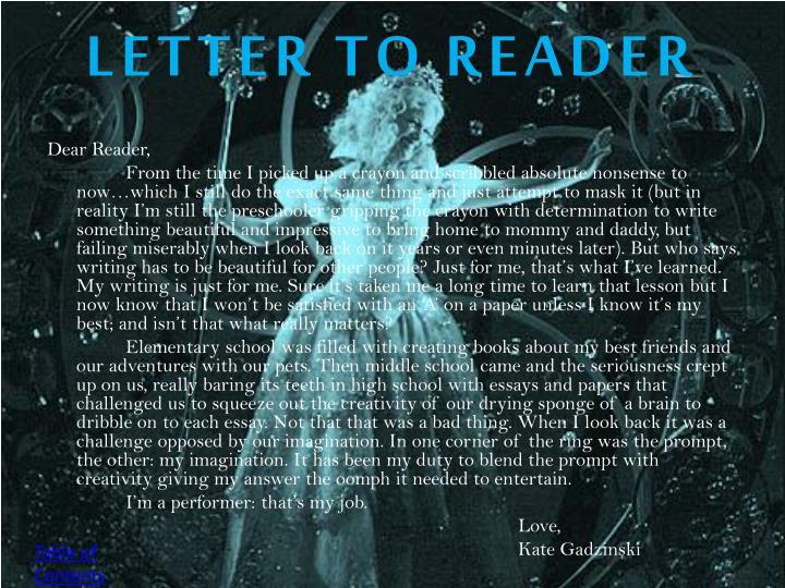 LETTER TO READER