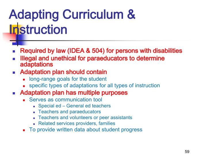 Adapting Curriculum & Instruction