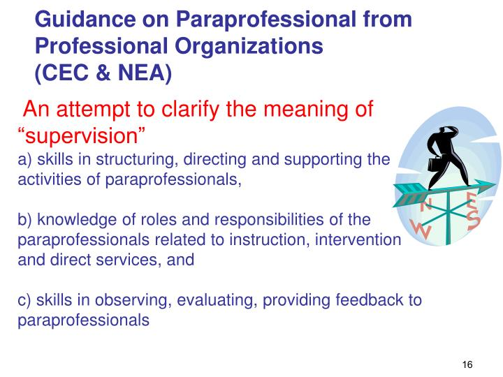 Guidance on Paraprofessional from Professional Organizations