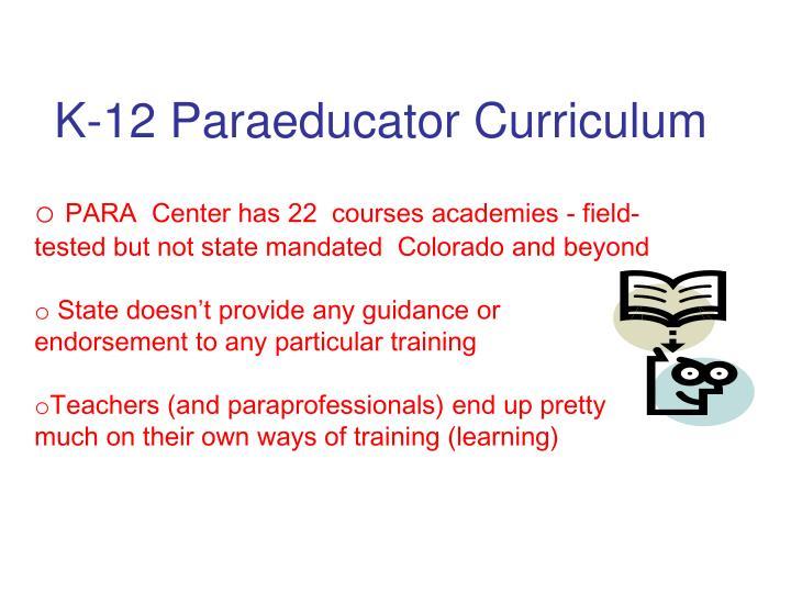 K-12 Paraeducator Curriculum