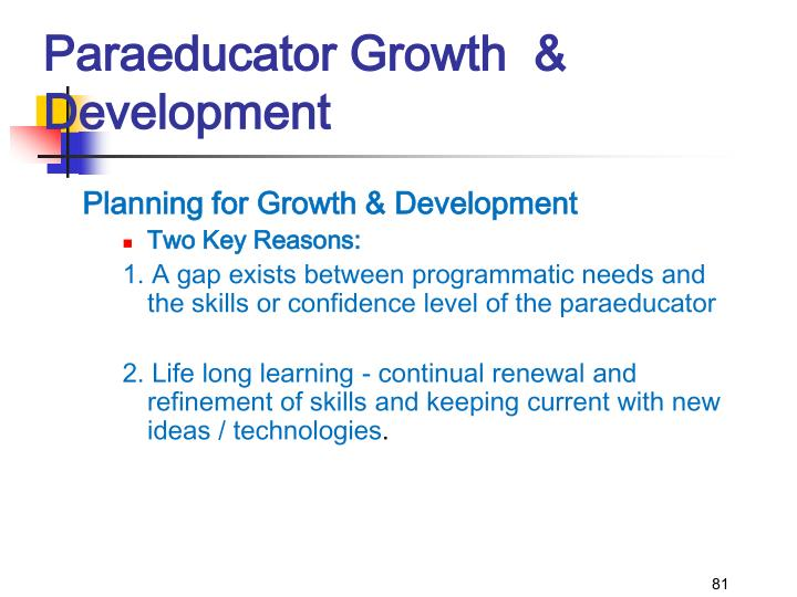Paraeducator Growth  & Development