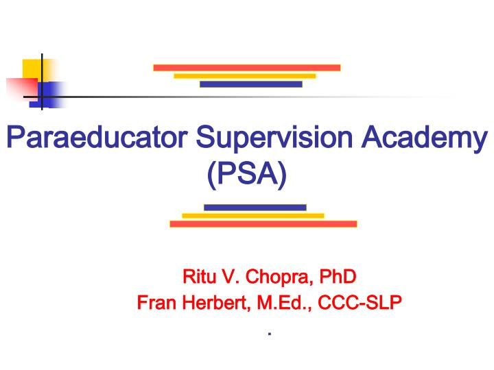 Paraeducator supervision academy psa