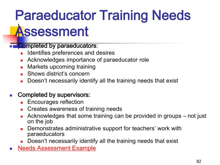 Paraeducator Training Needs Assessment