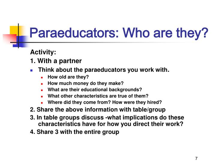 Paraeducators: Who are they?