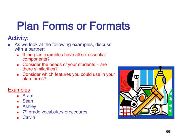 Plan Forms or Formats