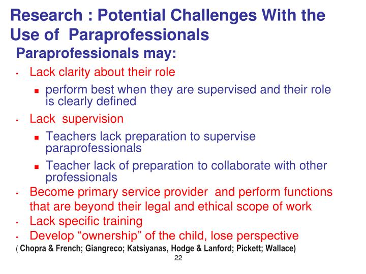 Research : Potential Challenges With the Use of  Paraprofessionals