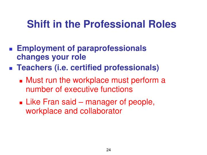 Shift in the Professional Roles