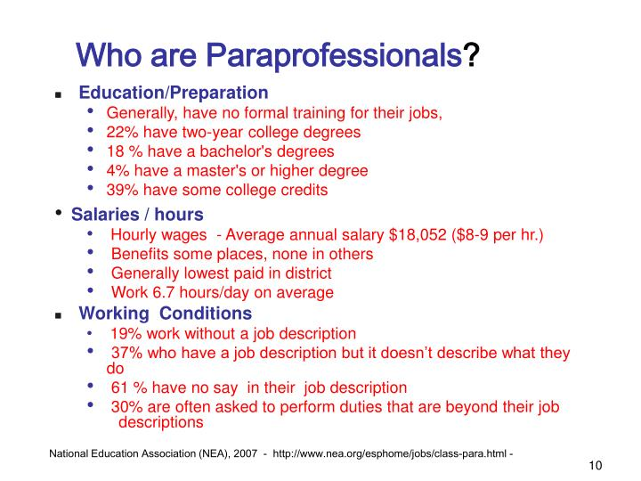 Who are Paraprofessionals