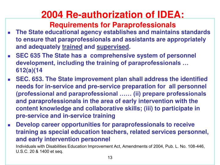 2004 Re-authorization of IDEA: