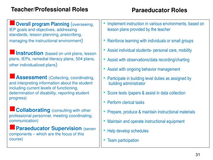 Teacher/Professional Roles