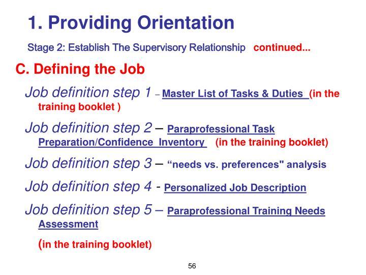 Providing Orientation
