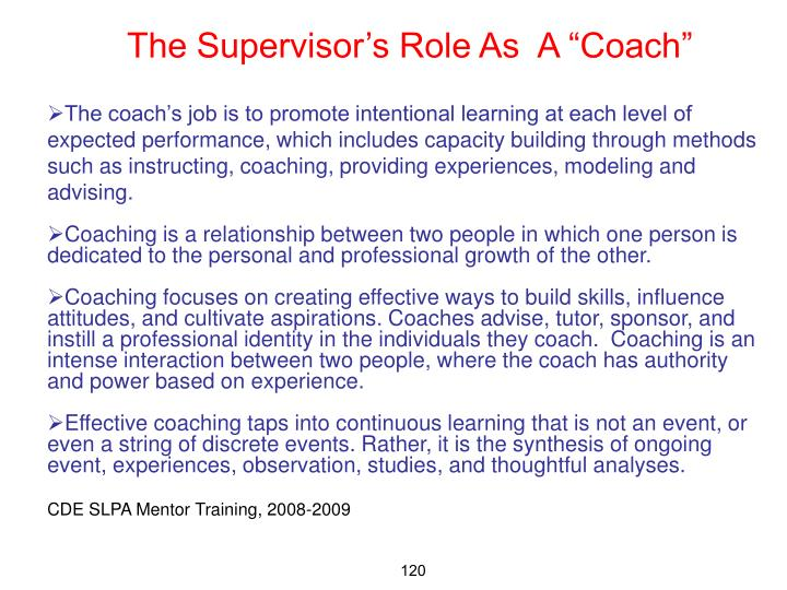 "The Supervisor's Role As  A ""Coach"""