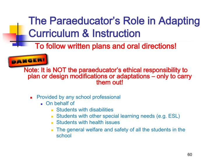 The Paraeducator's Role in Adapting Curriculum & Instruction