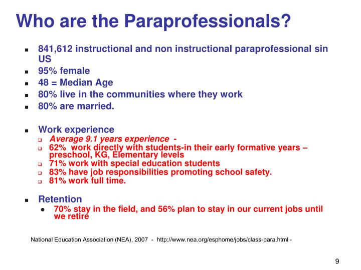 Who are the Paraprofessionals?