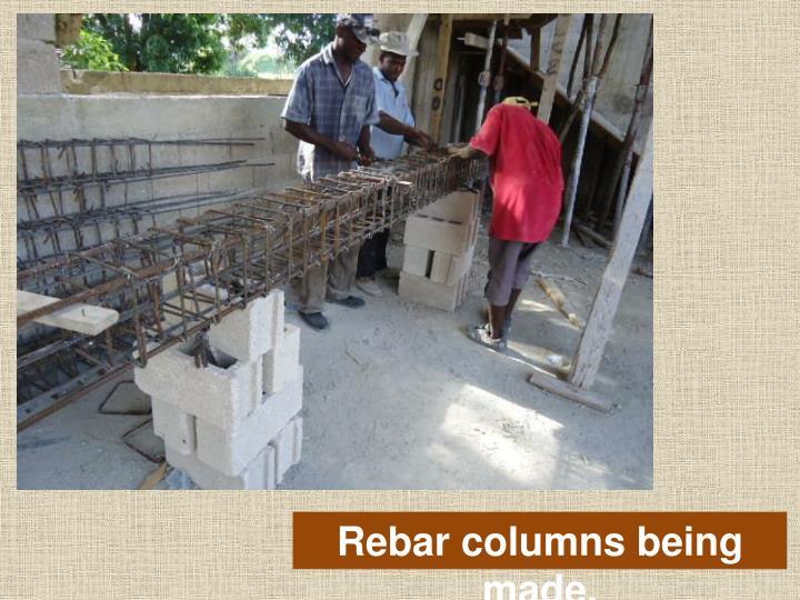 Rebar columns being made.