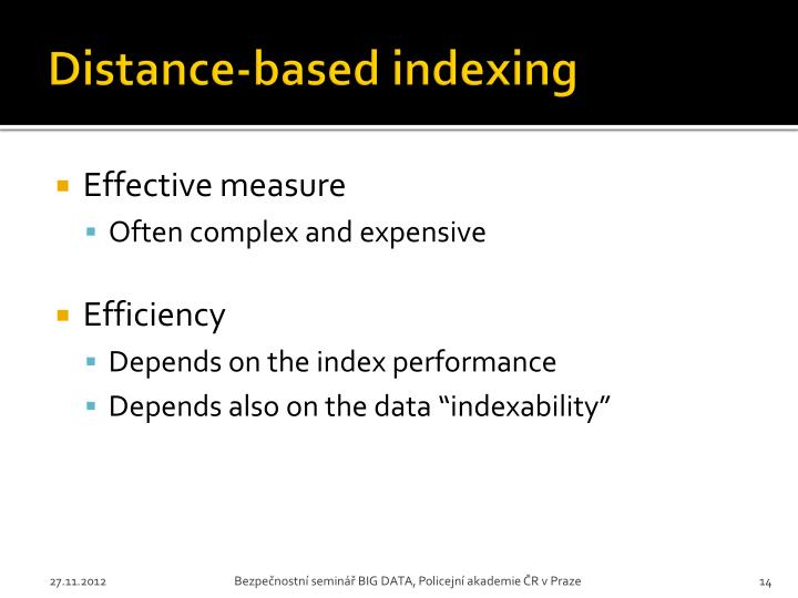 Distance-based indexing
