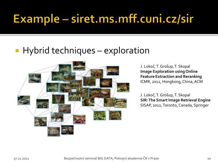 Example – siret.ms.mff.cuni.cz/sir