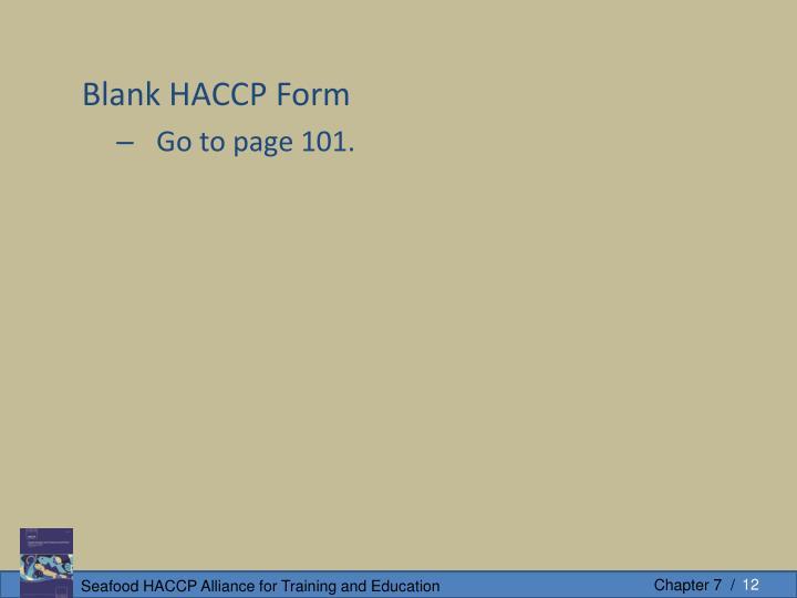 Blank HACCP Form