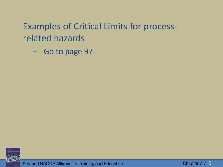 Examples of Critical Limits for process-related hazards
