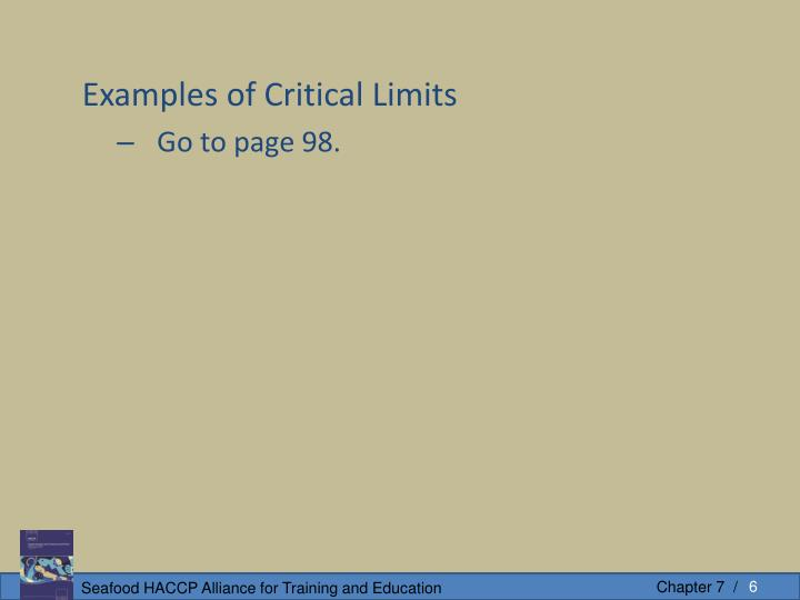 Examples of Critical Limits