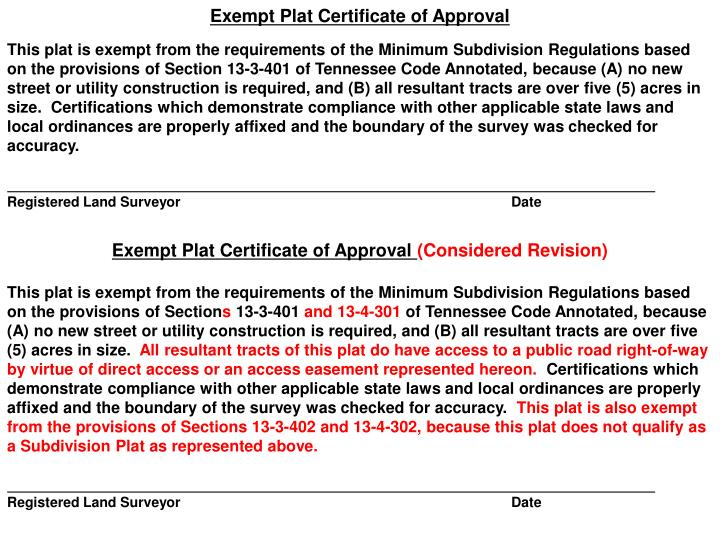 Exempt Plat Certificate of Approval