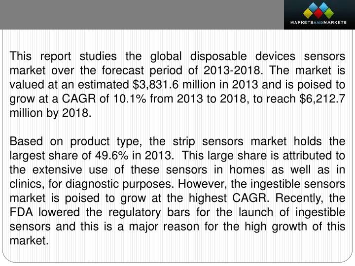 This report studies the global disposable devices sensors market over the forecast period of 2013-2018. The market is valued at an estimated $3,831.6 million in 2013 and is poised to grow at a CAGR of 10.1% from 2013 to 2018, to reach $6,212.7 million by 2018