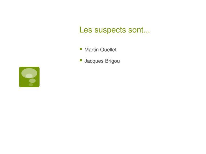 Les suspects sont...