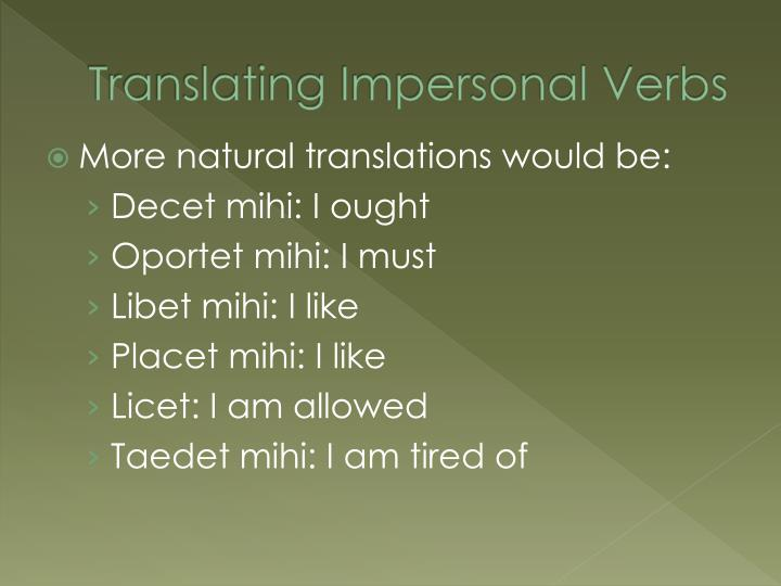 Translating Impersonal