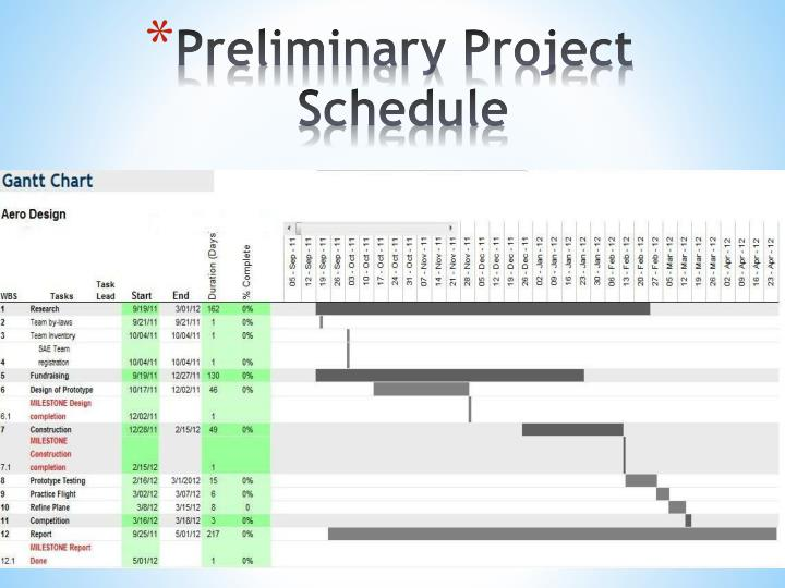 Preliminary Project Schedule