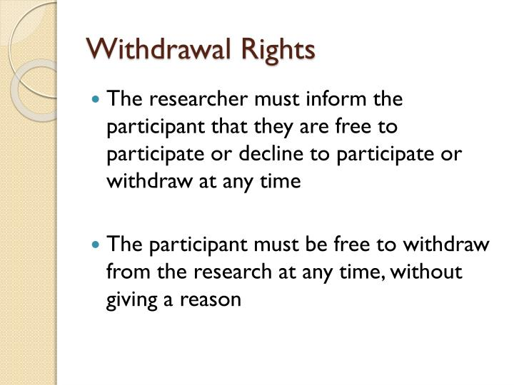 Withdrawal Rights