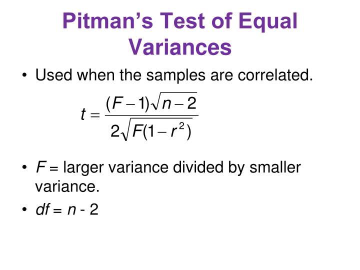 Pitman's Test of Equal Variances