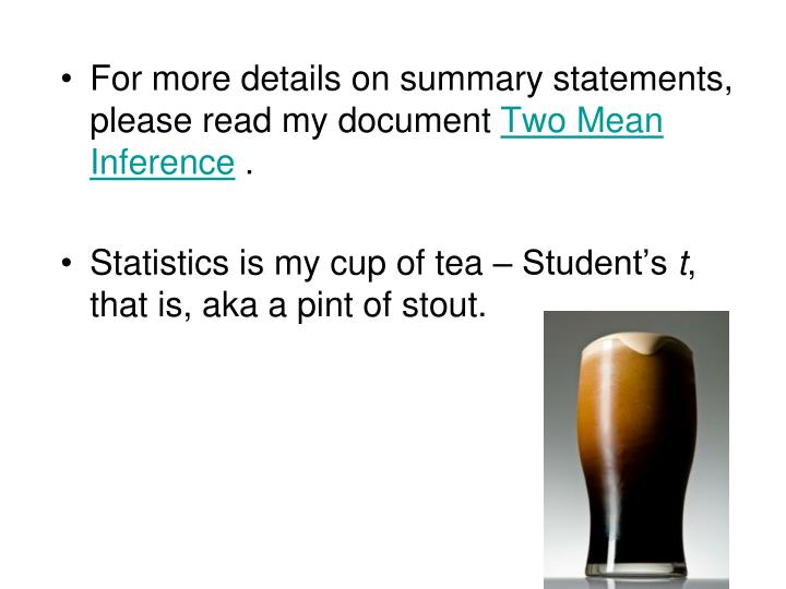 For more details on summary statements, please read my document