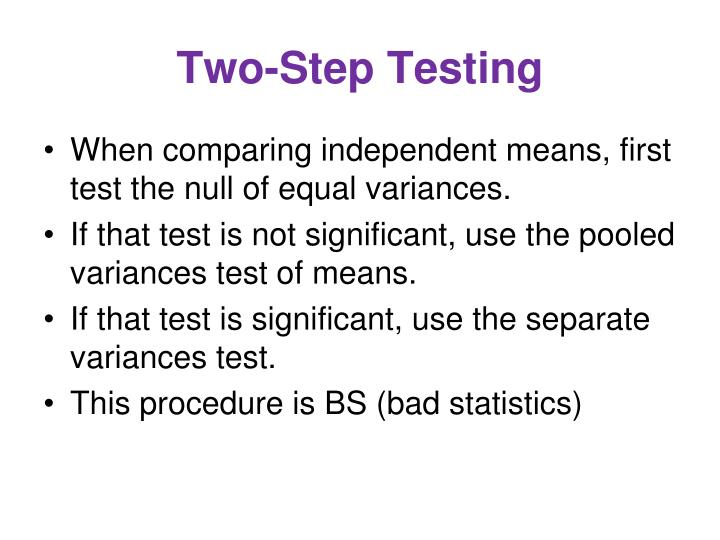 Two-Step Testing