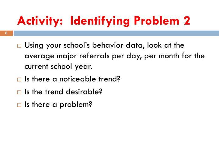 Activity:  Identifying Problem 2
