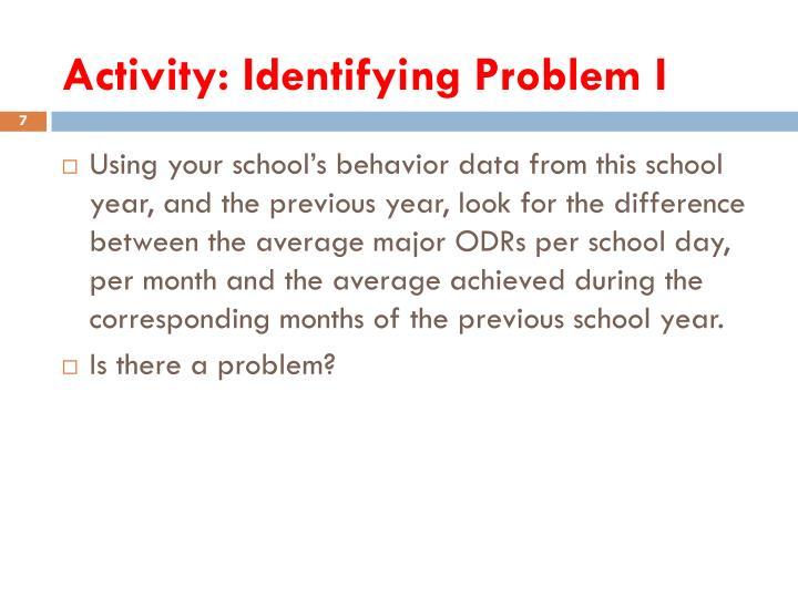 Activity: Identifying Problem I