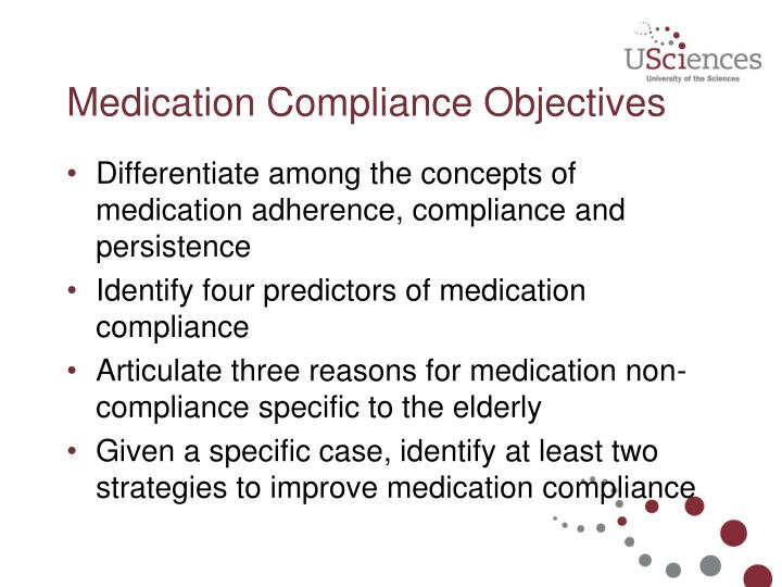 Medication compliance objectives