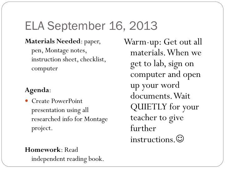 ELA September 16, 2013