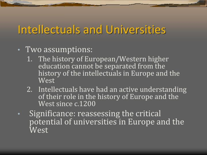 Intellectuals and Universities