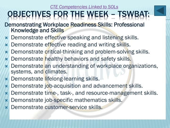 Demonstrating Workplace Readiness Skills: Professional Knowledge and Skills