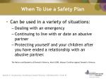 when to use a safety plan