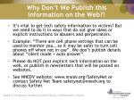 why don t we publish this information on the web