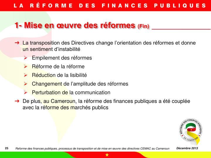 1- Mise en œuvre des réformes